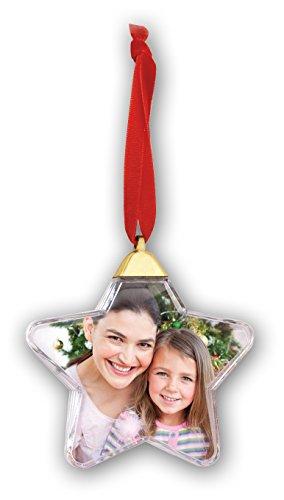 Henzo Christbaumkugel Photo Snow Flake 8,5x7,5 Weihnachtsstern als Christbaumschmuck für 1 auswechselbares Foto, Plastik, transparent, 9.3 x 9 x 2.2 cm