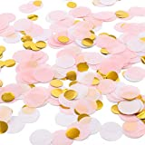 Whaline Round Tissue Confetti 6000 Pcs Paper Table Wedding Confetti Dots for Christmas, Wedding,Birthday Party,Baby Shower,Valentine's Day and Balloon Decorations,1 Inch (Pink,White, Gold)