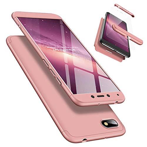 Funda Xiaomi Redmi 6A 360 Grados Caja Caso + Vidrio Templado Laixin 3 in 1 Carcasa Todo Incluido Anti-Scratch Protectora de teléfono Case Cover para Xiaomi Redmi 6A (Oro Rosa)