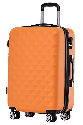 BEIBYE Zwillingsrollen 2066 Hartschale Trolley Koffer Reisekoffer Gepäck M-L-XL-Set (Orangen, M)