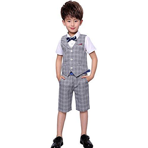 4 Stück Jungen Sommer Hochzeit Freizeit Anzug Weste Shirt Short mit Bowtie