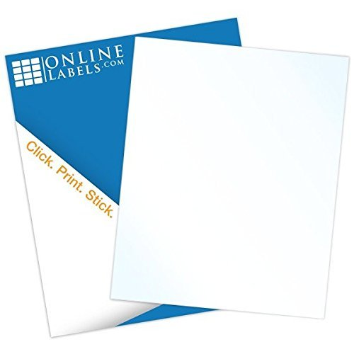 White Gloss Sticker Paper, 250 Sheets, 8.5 x 11 Full Sheet Label, Inkjet Printers, Online Labels