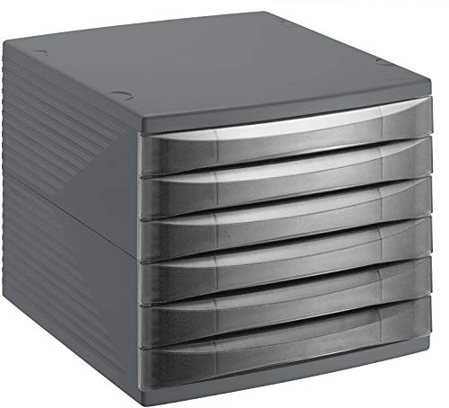 Rotho Quadra, Cajón, caja de oficina con 6 cajones, Plástico PS sin BPA, negro, 36.5 x 28.0 x 25.0 cm