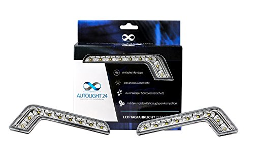 AUTOLIGHT 24 2 x 8 Power SMD LED Tagfahrlicht L-Form DRL TFL 6000K V6