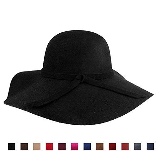 AStorePlus Classic Vintage Women Wool Wide Brim Hat Elegant Ladies Floppy Beach Sun Cap, Black
