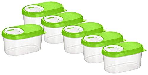 Kigima Gewürzdosen Schüttdosen Streudosen Vorratsdosen 0,14l 6er Set grün
