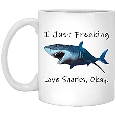 I Just Freaking Love Sharks Okay Mug - Shark Mug - Shark Mug - Shark Gift