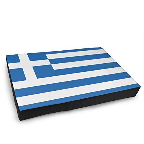 Jacklee Hond Kat Bed met Orthopedisch Schuim en Wasbaar Anti-slip Cover, Blauw En Wit Strepen Griekse Vlag