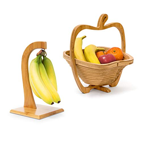 2 tlg Obst Set, Bananenhalter, Obstkorb, Obsthalter, Obstschale, Obstständer, Faltkorb, Bananenständer, Dekoschale, Holz