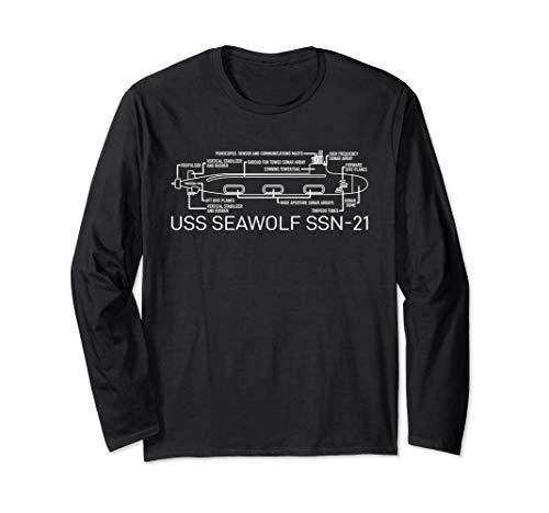 USS Seawolf SSN-21 U-Boot Blueprint Geschenk Langarmshirt