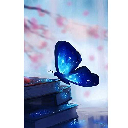 Lazodaer - Kit de pintura de diamante para niños, adultos, decoración de la habitación del hogar, oficina, regalos para ella, mariposa azul, 30 x 39,9 cm