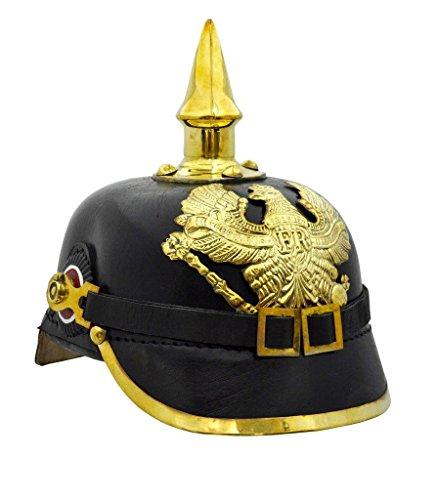 Brass German Pickelhaube Imperial Prussian Helmet - Leather
