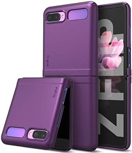【Ringke】Galaxy Z Flip ケース ギャラクシー ゼット フリップ ケース [SCV47] ストラップホール Samsung 折りたたみスマートフォン Galaxy ZFlip スマホケース 落下防止 Qi ワイヤレス充電対応 Slim (Purple パープル)