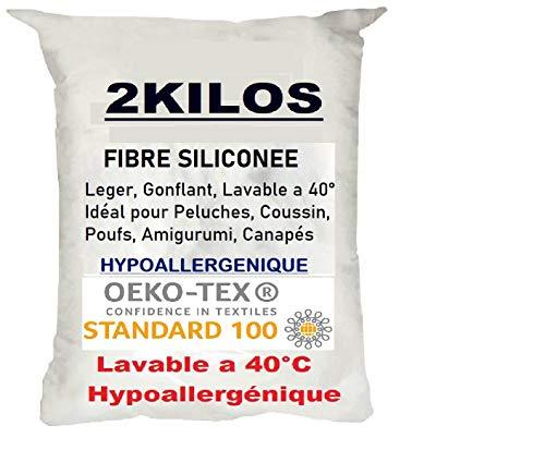 2 Kilos de Ouate de Rembourrage Polyester Siliconée Gonflante, Sac de 2 Kg pour Le garnissage de Coussins, Peluches, Oeko-TEX® Standard 100