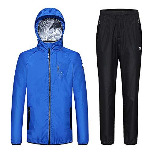 HOTSUIT Sauna Suit Men Weight Loss Anti Rip Sweat Suits Workout Jacket Blue XXL