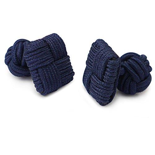Honey Bear 1 Paar Herren/Damen Seide Stoff Knoten Seidenknoten Platz Manschettenknöpfe für Hemd /Kleid zum (Navy blau)