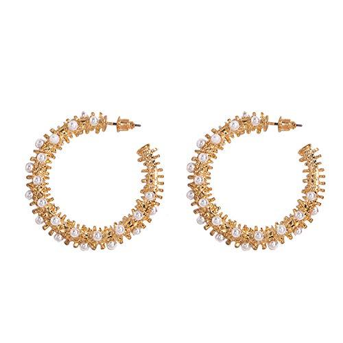 WFZ17 Pendientes de tuerca con forma de C de perlas sintéticas, para mujeres y niñas, color dorado