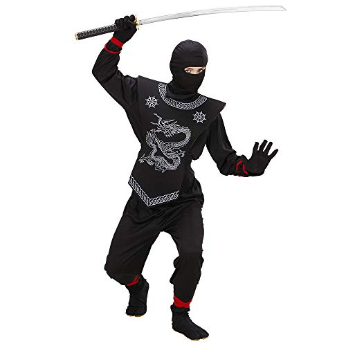 Widmann 74527 - Kinder Kostüm Black Ninja, Anzug und Maske, Größe 140