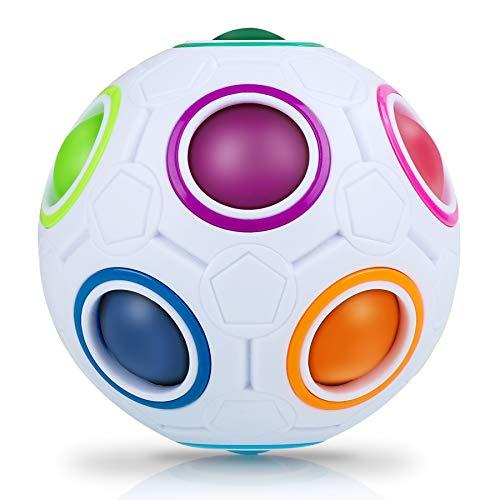 JQGO Magic Rainbow Ball 3D Puzzle Cube, Puzzle Speed Cube Juguete Educativo para niños Puzzle Ball Stress Relief para Adolescentes Adultos, Blanco