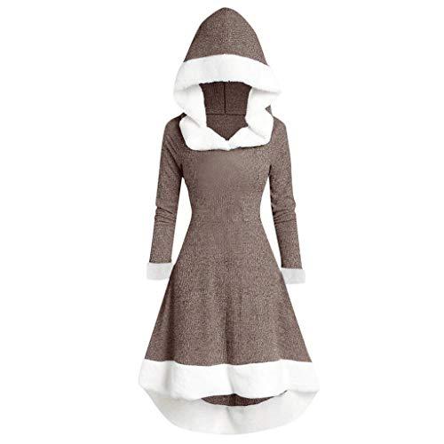 TUDUZ-Damen Plüschkleid mit Kapuze Retro Elegant Winterkleid Einfarbig Freizeitkleid für Partys Hochzeit Alltage Langarm A-Line Unregelmäßiger Hem (34, Khaki)