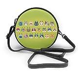 あつまれどうぶつの森 おしゃれ レディース 丸型ショルダーバッグ カジュアル 革 収納バッグ 軽量 撥水 ミニショルダーバッグ 化粧袋 ビジネスバッグ 斜め掛けバッグ 財布