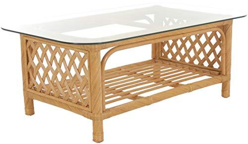 Corb.outlet Louis Table de jardin d'hiver en rotin naturel Table basse Table d'appoint en rotin Miel