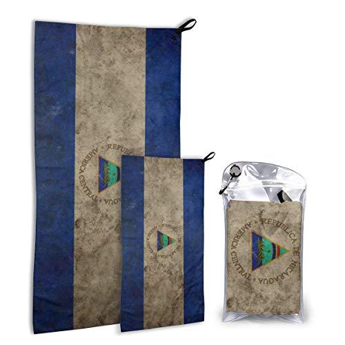 Lawenp Juego de Toallas de Microfibra para Exteriores, Paquete de 2, Originalidad Bandera de Nicaragua Toallas de Viaje de Secado rápido, Suaves y compactas, de Alta absorción con