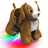 HOVER HEART Rechargeable 6V/7A Plush Animal Ride On Toy for Kids (3~7 Years Old) with Safety Belt (Dog)