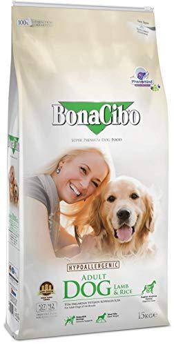 Bonacibo Dog Lamm und Reis | Super Premium Hundetrockenfutter für ausgewachsene Hunde Aller Rassen | 15 kg
