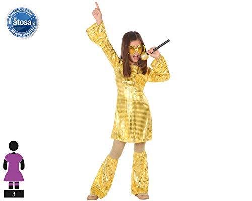 Atosa-56901 Disfraz Disco, Color Dorado, 5 a 6 años (56901)