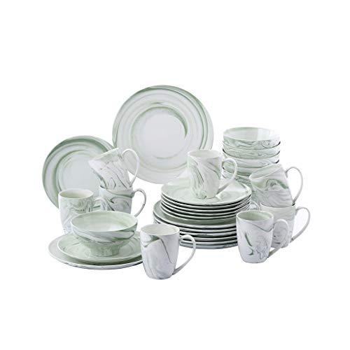 SMEJS Cfcjtz Placa de cámaras de Porcelana de cerámica de cerámica de 32 Piezas con 8 * Placa de Cena, Placa de Postre, Cuenco, Conjunto de Tazas