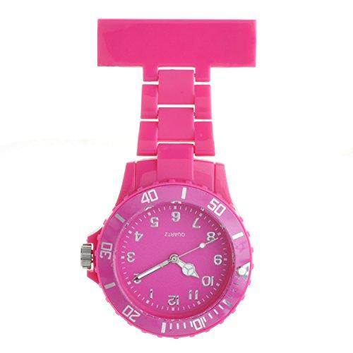 Ellemka - Schwestern   Herren Damen Unisex   FOB Ansteckuhr   Analoge Uhranzeige   Digitales Quartz Uhrwerk   NS-2102 Plastik ABS Pin Band   Monocolor Duplex - Magenta Fuchsia