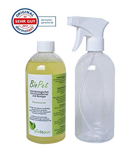 Biolopur | Geruchsneutralisierer | Geruchsentferner | Spray | Reinigungsmittel Urin, Haustier etc. 500ml Konzentrat ergibt 5L Fertiglösung