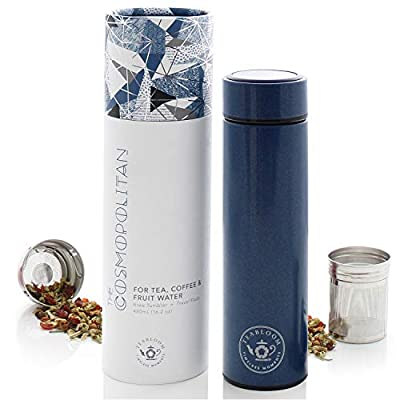 Teabloom All-Purpose Beverage Tumbler - 16 oz / 480 ml - Brushed Metal Insulated Water Bottle / Tea Flask / Cold Brew Coffee Mug - Extra-Fine Two-Way Infuser Travel Bottle - Night Blue