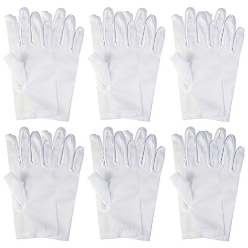 yeabwps 6 Pairs White Child Costume Gloves, Spandex Dress-up Gloves for Boys and Girls Banquets, Magic Show, Halloween Costume Accessories