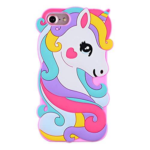 SevenPanda Einhorn Hülle für iPhone 5 5S SE, Weiches Gummi Silikon 3D Niedlichen Cartoon Rosa Einhorn Pferd Tier Muster Schutz Durable Stoßfänger Hülle Deckung für Kinder Mädchen Teens Damen - Rosa