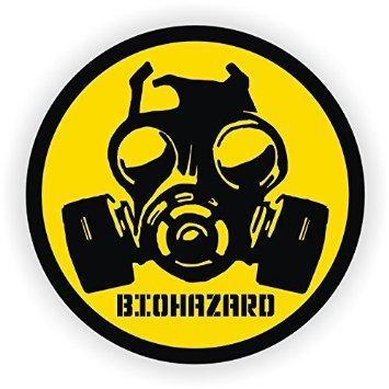 (2 PACK) Biohazard Gas Mask Symbol vinyl Hard Hat Helmet decal - size: 2' ROUND - Hard Hat, Helmet, Windows, Walls, Bumpers, Laptop, Lockers, etc.