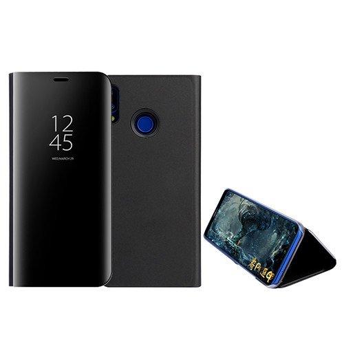 Custodia® Espejo Chapado Transparente View Stand Función Flip Funda para Xiaomi Redmi Note 7 (Negro)