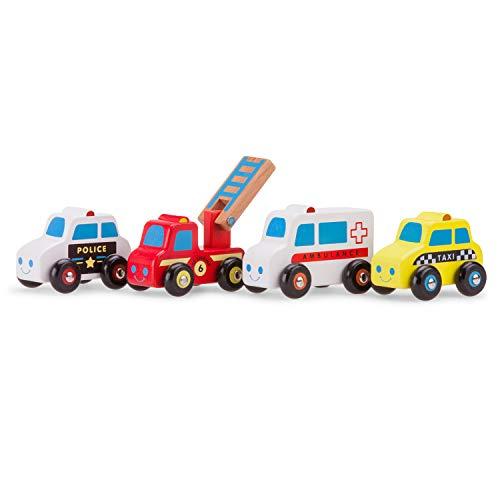 New Classic Toys Jouet en Bois pour Enfant Ensemble de Véhicles - 4 voitures