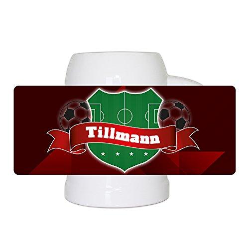 Fußball-Bierkrug mit Namen Tillmann und schönem Fußball-Wappen - Fan-Bierkrug personalisiert - Deutschland-Krug - Bierhumpen