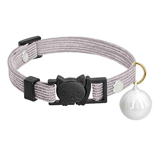 XYBB Collar de Perro Collar para Gatos de liberación rápida con Campana de Seguridad para Perros pequeños Puppy Kitten S Gris
