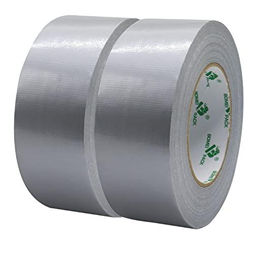 BOMEI PACK Nastro Adesivo Impermeabile Super Adesivo, Nastro Adesivo in Gomma Tela, Confezione da 2 Rotoli 50mmx50m, Colore Grigio, Adatto per Avvolgere e Fissare Tubi