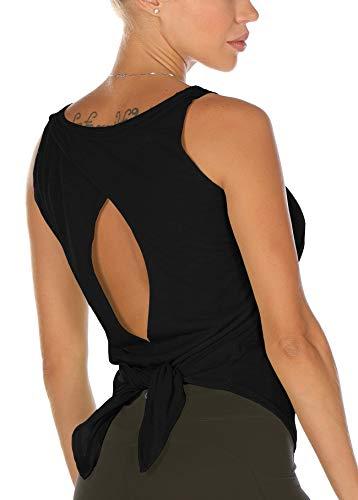 icyzone Camiseta deportiva para mujer, sin mangas, espalda descubierta, para yoga, gimnasio, fitness Negro M