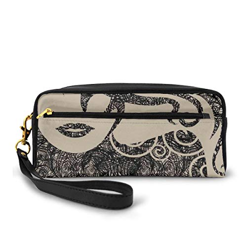 Pencil Case Pen Bag Pouch Stationary,Woman with Cool Posing Wavy Sexy Hot Hair Vamp Makeup Vintage Image Print,Small Makeup Bag Coin Purse