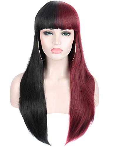 Sotica Long Straight Hair Wigs with Flat Bangs Women Girls Natural Looking Heat Resistant Synthetic Full Wigs (Half Black and Half Wine Red)