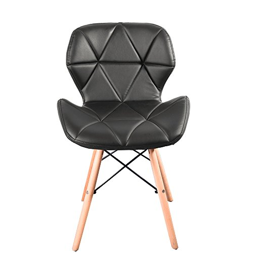 Panana 1PC Modern Style Dining Wooden Chairs Wood Legs & Comfortable Padded Seat Home Office Design Chair (Black, 1)