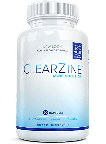 ClearZine Acne Pills for Teens & Adults   Clear Skin Supplement, Vitamins for Hormonal & Cystic Acne   Stop Breakouts, Oily Skin and Zits, 90 Caps