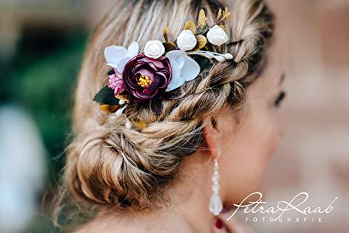 R9 Haarschmuck Haarkamm Blüten Blumen Pfingstrosen Oktoberfest Braut Hochzeit Frisuren wedding...