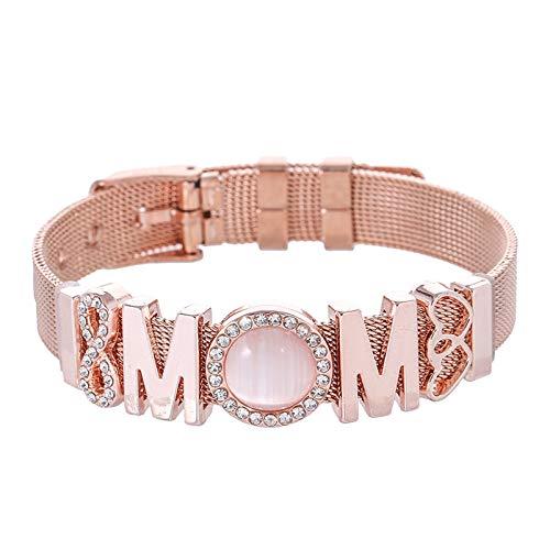KUMADAI Pulsera Mamá con Corazón para Mujer, Regalo Cumpleaños Mamá, Mejor Regalo Día de la Madre, Pulsera Ajustable Mujer para Mamá,Rose Gold