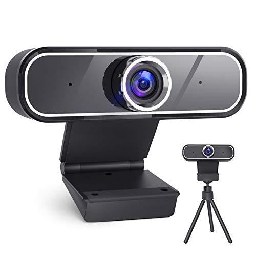 Webcam mit Mikrofon, 2K QHD 30fps Computer Kamera, Laptop PC Webkamera mit Stativ, USB Streaming, Manueller Fokus für Konferenz, Spielen, kompatibel mit Windows/Mac/Linux/YouTube